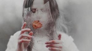 Model Natalia Drepina Ice Fallen Leaves Closed Eyes Winter Russian Long Hair 1280x1280 Wallpaper