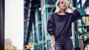Chloe Norgaard Women Model Jeans Fashion Urban Bridge City Shoulder Length Hair Blue Eyes Blonde Dep 2000x1335 Wallpaper