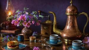 Copper Flower Grinder Oil Lamp Pitcher Still Life Vase 5184x3456 Wallpaper