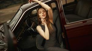 Women Car Dress Straight Hair Tight Dress Women With Cars Closed Eyes Watch Armpits Sitting 2000x1125 wallpaper
