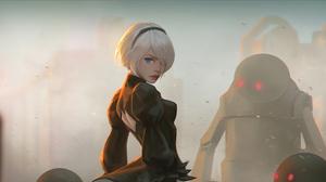 Yorha No 2 Type B White Hair Robot Short Hair Blue Eyes 2840x1597 Wallpaper