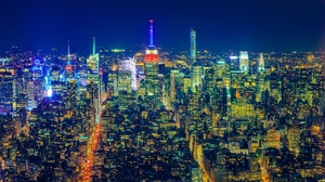 Aerial Building City Cityscape Light New York Night Skyscraper Usa 2048x1365 Wallpaper
