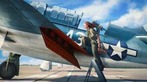 Olga Kim Women Military Aircraft Aircraft Vehicle Military Vehicle Artwork Warplanes ArtStation Mili 1920x1218 Wallpaper