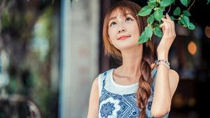 Asian Model Women Women Outdoors Long Hair Dark Hair Depth Of Field Dress White Shirt Braided Hair L 3840x2561 Wallpaper