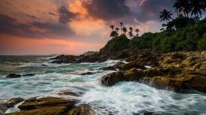 Nature Landscape Trees Forest Rocks Moss Water Long Exposure Clouds Sky Sunset Sun Horizon Sea Tanga 1920x1080 wallpaper