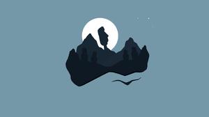 Moon Mountain Statue 7680x4320 Wallpaper