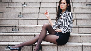 Asian Model Women Long Hair Dark Hair Black Heels Nylons Black Skirts Striped Shirt Sitting Stairs 1920x1280 Wallpaper
