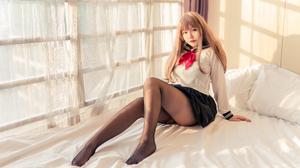 Women Model Asian Cosplay Chinese Model Chinese Yoko Cos Schoolgirl Skirt Sitting Women Indoors Look 6000x4000 Wallpaper