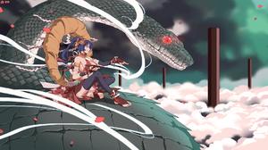 Anime Girls Anime Snake Red Eyes Sitting Touhou Yasaka Kanako 1920x1080 Wallpaper
