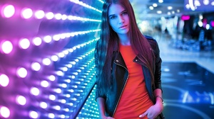 Brunette Depth Of Field Girl Leather Jacket Long Hair Model Woman 1920x1281 Wallpaper