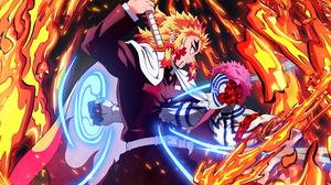 Kyojuro Rengoku Akaza Demon Slayer Kimetsu No Yaiba 4500x3701 wallpaper