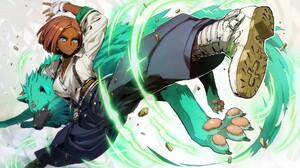 Anime Anime Girls Giovanna Guilty Gear Boots Blue Eyes Short Hair Wolf Gloves Redhead Shirt 1920x1080 Wallpaper
