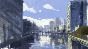 Digital Art Cityscape River Slow D 2378x1396 Wallpaper
