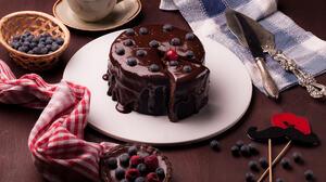 Coffee Chocolate Blueberry Dessert Pastry 2048x1527 Wallpaper