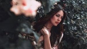 Woman Girl Brunette Long Hair Lipstick 2048x1365 Wallpaper