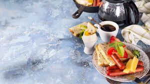 Food Eggs Breakfast Coffee Bread Sausage Cheese 1920x1080 Wallpaper