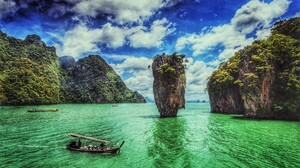 Boat Long Tail Boat Ocean Rock Sea Thailand Turquoise Vehicle 2560x1600 wallpaper