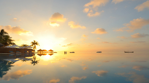 Nature Beach Boat Water Reflection People 3840x2160 wallpaper