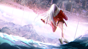 Anime Anime Girls Mountains Red Dress Blonde Long Hair City Sky Clouds Sneakers Walking Sea 3840x2160 Wallpaper