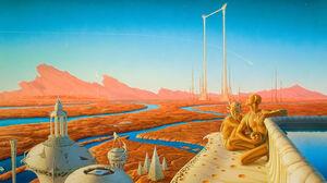 Artwork Painting Fantasy Art Space Sky Science Fiction Planet Landscape River Aliens 3000x1654 Wallpaper