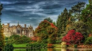 England Fall Mansion Palace Pond Tree 4200x2782 Wallpaper