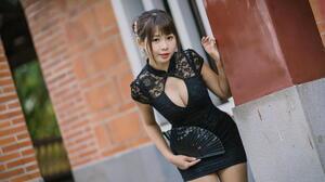 Asian Model Women Long Hair Dark Hair Bricks Black Dress Hand Fan Depth Of Field Hair Ornament Hair  1920x1280 Wallpaper