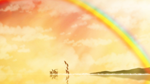 Bike Boy Girl Rainbow Umbrella 3240x1611 Wallpaper