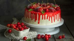 Food Cake Fruit Strawberries Cherries Sweets 1920x1312 Wallpaper