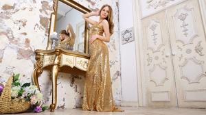 Blonde Girl Gold Dress Luxury Mirror Reflection Woman 4000x2500 Wallpaper