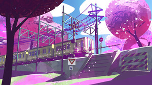 Kevin Gnutzmans Digital Art Trees Pink Train 2921x1643 Wallpaper