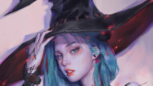 Z WY Looking At Viewer Open Mouth Blue Hair Wizards Hat Bracelets Women With Hats Face Hat Simple Ba 1920x1920 Wallpaper