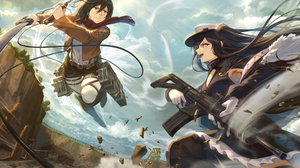 Anime Anime Girls Digital Art Artwork 2D Portrait Two Women Battle Girls With Swords Girls With Guns 2250x1600 Wallpaper