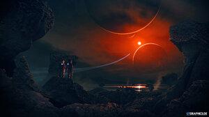 Taenaron Futuristic 3D Planet Astronaut Rock Space Sun Digital Art Spaceship GTGraphics Glowing 2560x1440 Wallpaper