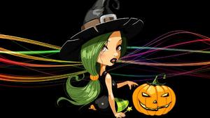 Witch Pumpkin Digital Art Halloween Black Background Wavy Lines Jack O Lantern 1920x1200 Wallpaper