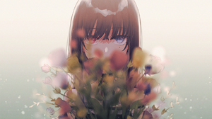 Anime Anime Girls Heterochromia Long Hair Flowers White Background Looking At Viewer Depth Of Field  1778x1000 Wallpaper