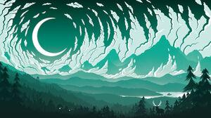 Silhouette Minimalism Moon Pine Trees Fredrik Persson Forest Mountains Clouds Deer Digital Art Lake 1920x1080 Wallpaper