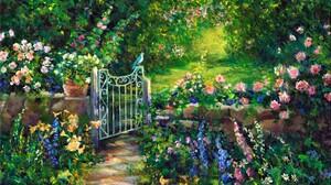 Artistic Bird Flower Garden Gate Painting Spring 1920x1200 Wallpaper