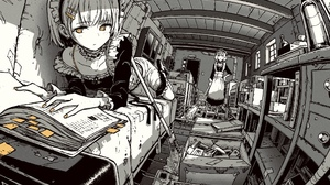 Anime Anime Girls Maid Outfit Books Yellow Eyes Broom Cleaning Bottles Boxes Pipes Short Hair 2048x1250 Wallpaper