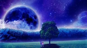 Artistic Deer Fantasy Field Moon Mountain Sky Tree 1920x1200 Wallpaper