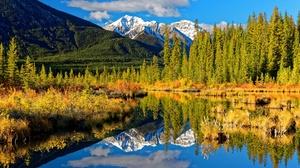 Fall Forest Mountain Lake Reflection Canada Alberta Rocky Mountains 3600x2400 Wallpaper