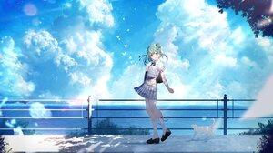 Anime Anime Girls Uruha Rushia Hololive Fan Art Kayahara Virtual Youtuber Cats Green Hair Red Eyes S 4096x2731 Wallpaper