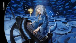 Anime Anime Girls Musical Instrument Tail Virtual Youtuber Open Mouth Painted Nails Blue Nails Blue  1920x1080 Wallpaper
