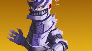 Godzilla Mechagodzilla Humor Digital Art Kaiju Movies Gradient Mech UFO 1280x1707 Wallpaper