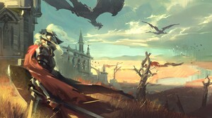 Likui Tuosi ZQ Digital Art Fantasy Art Castle Dragon Clouds River Birds 1920x868 Wallpaper
