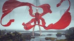 3D Artwork Mist Women Red Clothing Landscape Futuristic River Water Science Fiction City Render Floa 10000x4545 wallpaper