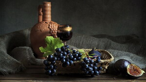 Grapes Leaf Pitcher Still Life Wine 1680x1050 Wallpaper
