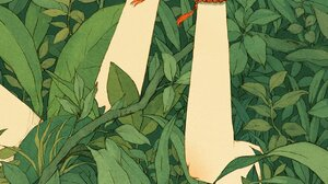 Artwork Digital Art Plants Leaves Butterfly Fantasy Art Green 1242x2208 Wallpaper