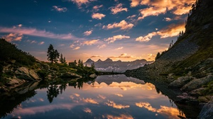 Alps Austria Dawn Lake Mountain Nature Reflection Sky 2048x1280 Wallpaper