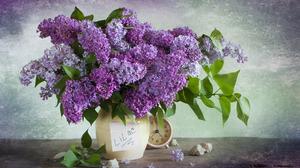 Clock Flower Leaf Lilac Purple Vase 1926x1280 Wallpaper