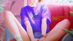 NaBaBa DeviantArt Arata Yokoyama Artwork Women Short Hair Brunette Blue Eyes T Shirt Shorts 1080x1578 Wallpaper